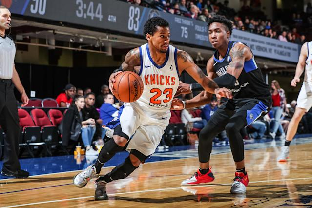 "<a class=""link rapid-noclick-resp"" href=""/nba/players/5160/"" data-ylk=""slk:Trey Burke"">Trey Burke</a> has averaged 26.6 points this season for the Westchester Knicks. (Getty Images)"