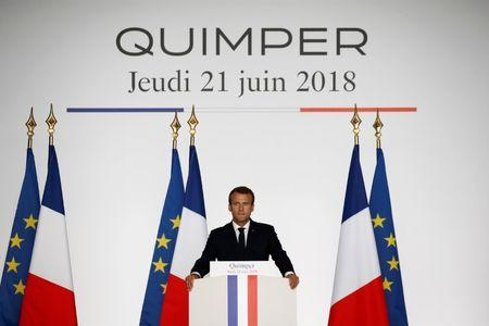 French President Emmanuel Macron delivers a speech in Quimper, France, June 21, 2018.  REUTERS/Stephane Mahe