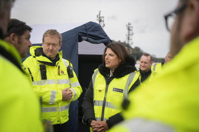 Former immigration minister Caroline Nokes speaks with Border Force officers and the HM Coastguard in Dover, to discuss migrants' attempts to reach Britain by small boat. (Victoria Jones/PA Images via Getty Images)