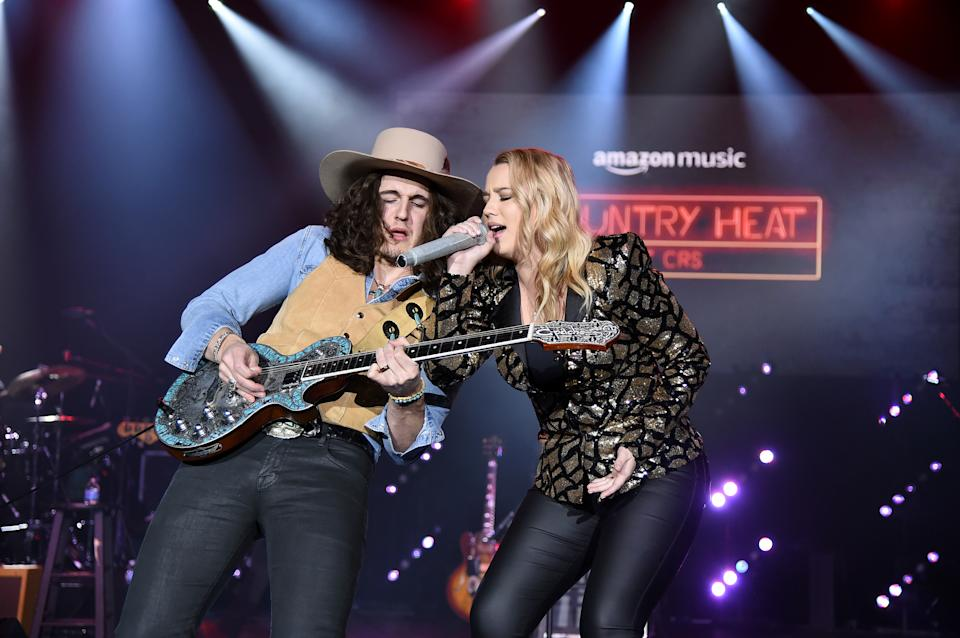 """Gabby Barrett, right, performs in February in Nashville, Tennessee.<span class=""""copyright"""">Photo by John Shearer/Getty Images for Amazon Music</span>"""