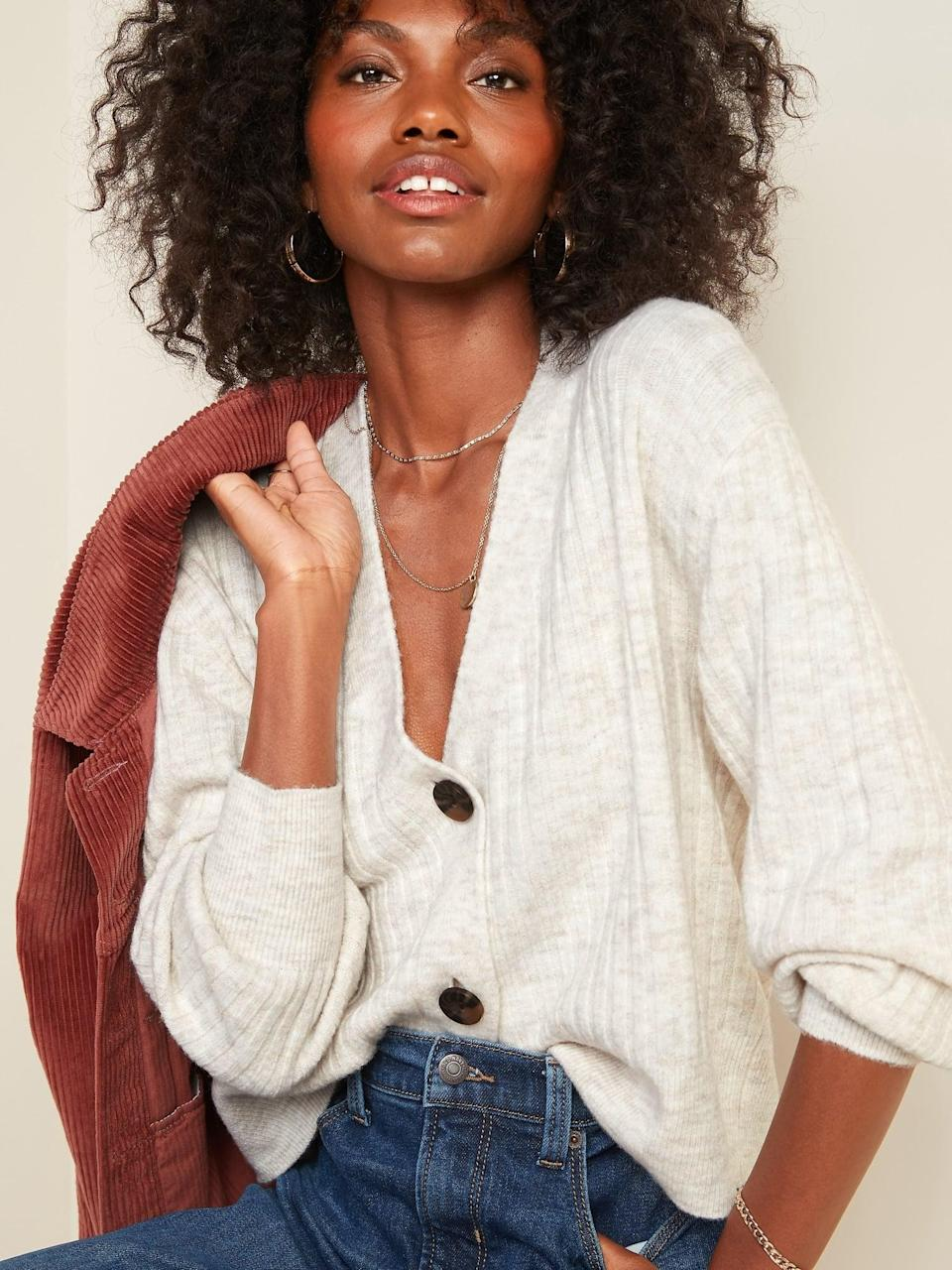<p>This <span>Slouchy Rib-Knit Button-Front Cardigan Sweater </span> ($32, originally $37) can be worn alone or over a simple T-shirt.</p>
