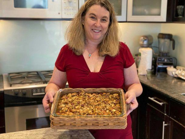 PHOTO: Lori McCarthy holds her finished dish of stuffing for Thanksgiving. (Dan McCarthy)