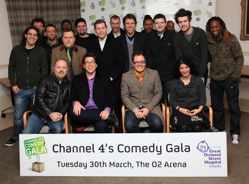 Comedians (front row left to right) Bill Bailey, Michael McIntyre, Alan Carr, Shappi Khorsandi, and Jack Dee (second row 2nd left), Lee Evans (centre left), John Bishop (second row 4th right), Jack Whitehall (second row 2nd right) and members of Stomp during a photocall for the launch of Channel 4's Comedy Gala at the O2, in aid of Great Ormond Street Hospital, in central London.