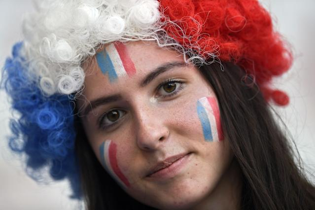 A French supporter poses ahead of the France 2019 Women's World Cup Group A football match between France and Norway, on June 12, 2019, at the Nice Stadium in Nice, southeastern France. (Photo by Christophe Simon/AFP/Getty Images)