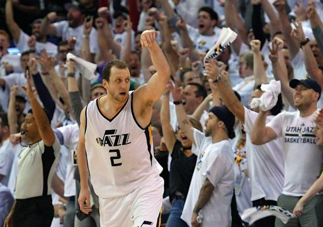 "<a class=""link rapid-noclick-resp"" href=""/nba/players/5393/"" data-ylk=""slk:Joe Ingles"">Joe Ingles</a> has developed into the sort of 3-and-D wing every good NBA team needs. (Getty)"