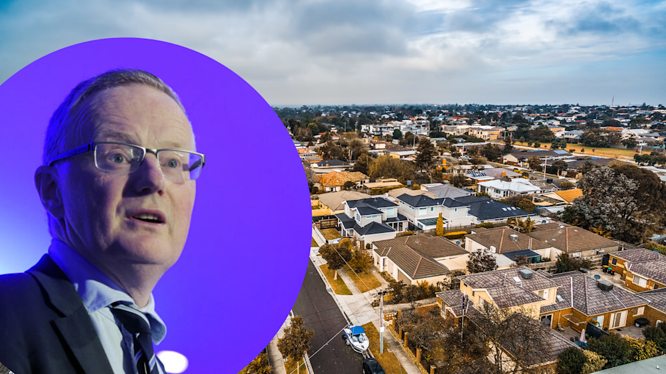 Pictured: Reserve Bank of Australia governor Philip Lowe speaks, aerial view of Australian suburb. Images: Getty