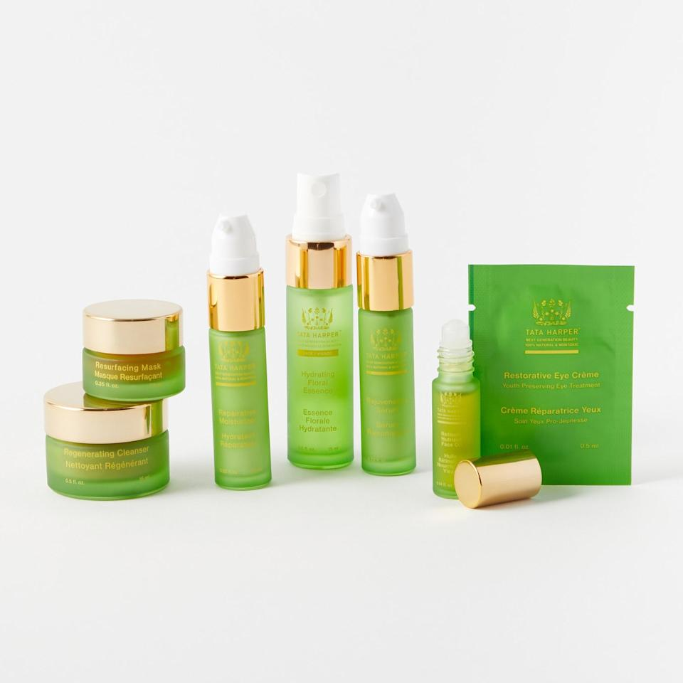 "<p>An <em>Allure</em> editor favorite, this set from Tata Harper includes best-selling skin-care products in travel-friendly sizes. Included in the collection is the Tata Harper's Regenerating Cleanser, Resurfacing Mask, Rejuvenating Serum, Crème Riche, Repairative Moisturizer, Restorative Eye Crème and Retinoic Nutrient Face Oil.</p> <p><strong>$75</strong> (<a href=""http://www.anrdoezrs.net/links/8984085/type/dlg/sid/allureverishoplastminutegifts/https://www.verishop.com/tata-harper/vendor-bundles/tatas-daily-essentials-set/p1802287546403?variant_id=15198090199075"" rel=""nofollow"">Shop Now</a>)</p>"