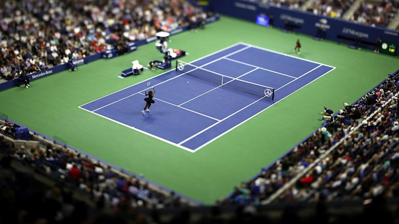 Serena Williams and Naomi Osaka in action during the 2018 US Open final. (Photo by Al Bello/Getty Images)
