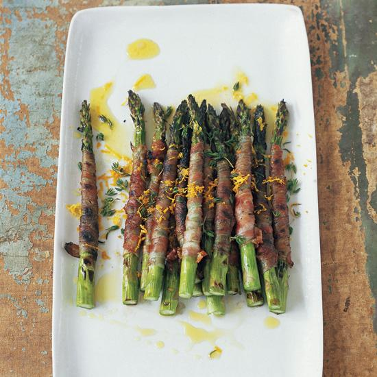 """<div class=""""caption-credit""""> Photo by: Beatriz da Costa</div><div class=""""caption-title"""">Pancetta-Wrapped Asparagus with Citronette</div><b><a href=""""http://www.foodandwine.com/recipes/pancetta-wrapped-asparagus-with-citronette"""">Pancetta-Wrapped Asparagus with Citronette</a></b> <br> In chef Mario Batali's riff on the traditional antipasto of prosciutto-wrapped asparagus, he wraps spears in pancetta (which, unlike prosciutto, becomes nicely crispy when cooked) and grills them. Adding a bit of tanginess is the citronette, a marvelously bright-tasting mustardy-orange dressing."""