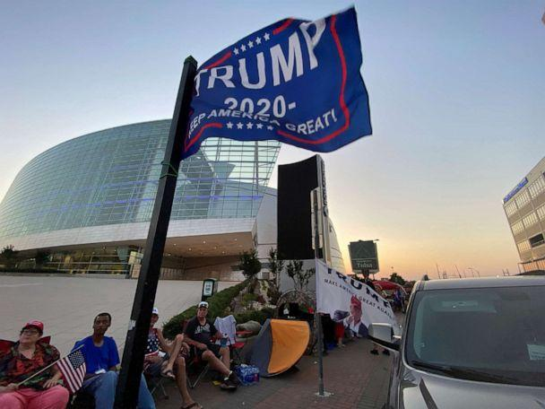 PHOTO: Supporters of President Donald Trump camp outside the BOK Center, the venue for his upcoming rally, in Tulsa, Oklahoma, June 17, 2020. (Lawrence Bryant/Reuters)