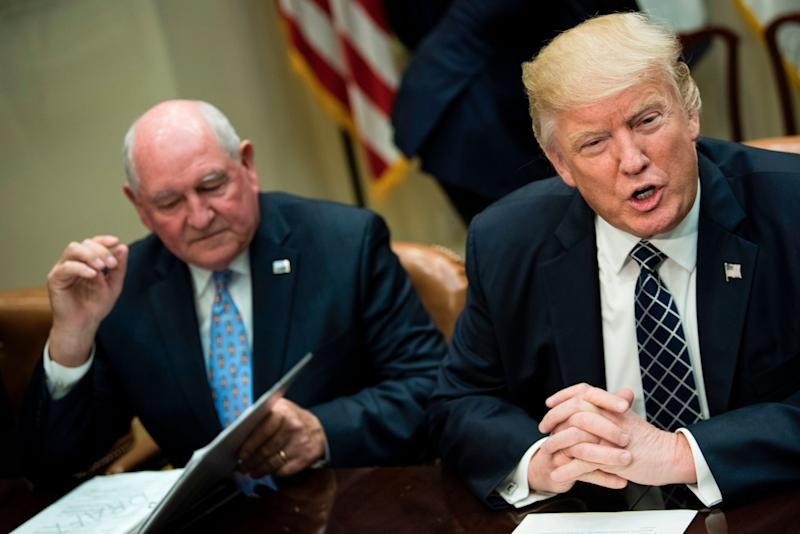 Trump with Agriculture Secretary Sonny Perdue. The USDA is scrapping a plan that would close nine job corps training sites and lay off 1,000 workers. (Photo: BRENDAN SMIALOWSKI via Getty Images)