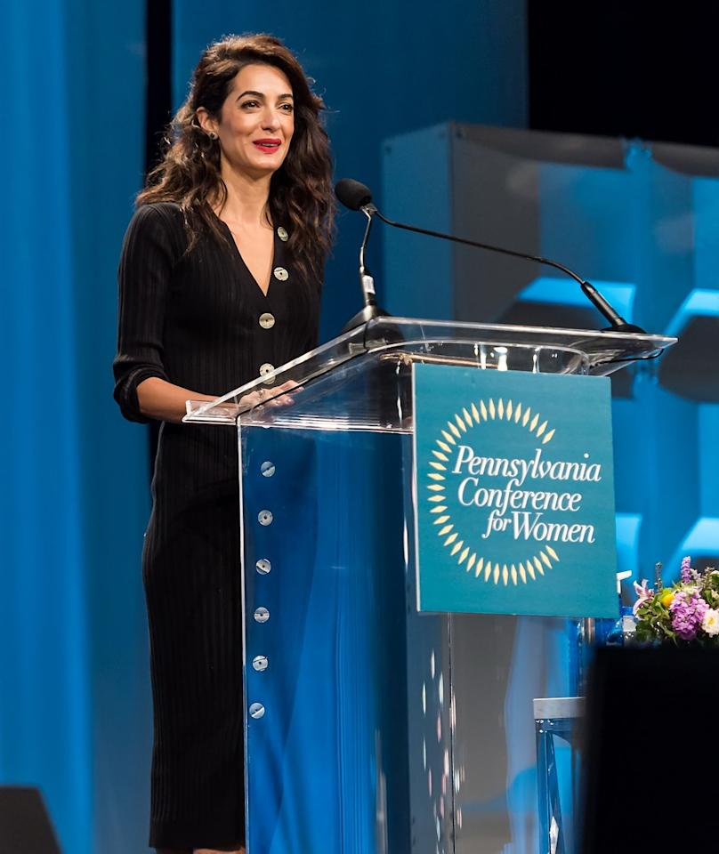 <p>Amal attended the Pennsylvania Conference for Women 2018 wearing a black sweater dress. </p>