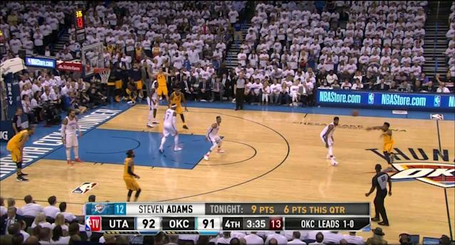 Russell Westbrook leaves Ricky Rubio alone at the 3-point arc in the fourth quarter of Game 2, again. (Screencap via NBA)
