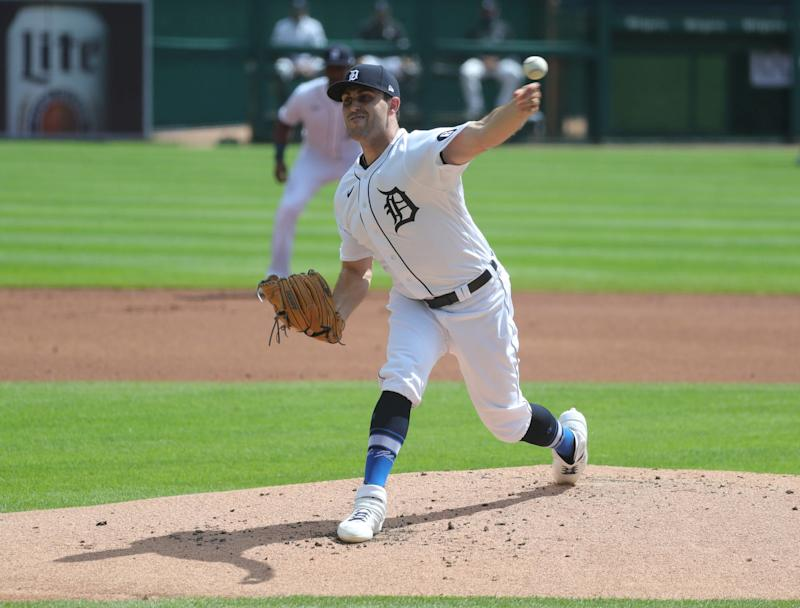 Tigers pitcher Matthew Boyd pitches against the Twins during the second inning at Comerica Park on Saturday, August 29, 2020.