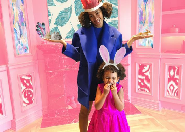 <p>Blue wore a hot-pink dress for a spring tea party with Beyoncé and Solange. She accessorized with the help of some Easter graphics, including a flower crown and bunny ears.</p>