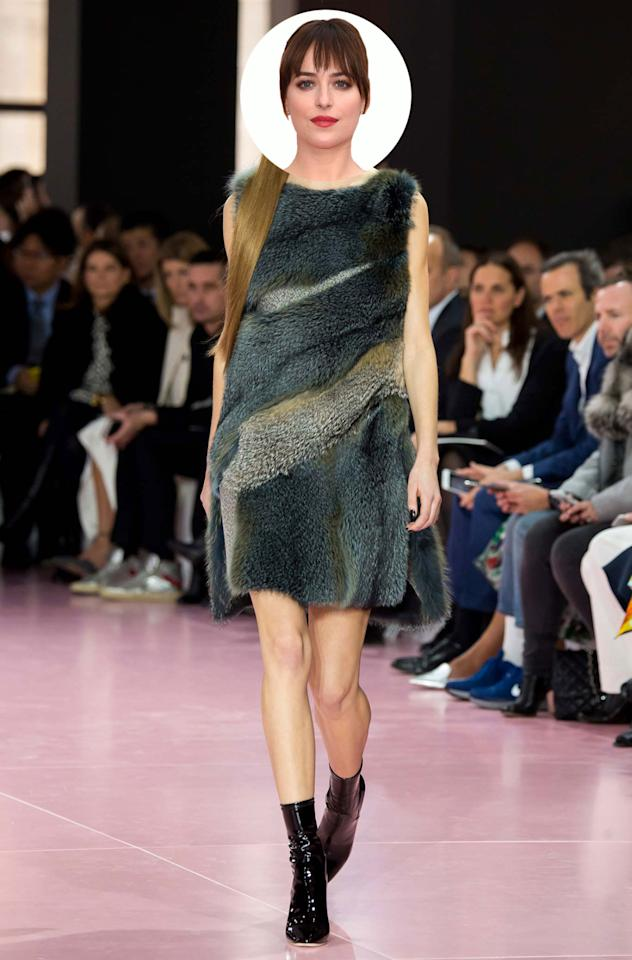 The collection was inspired by animal instincts and there's nothing more carnal than fashionable fur. Shaped into a mini dress, the beastly look would be on theme for a 50 Shades of Grey appearance.