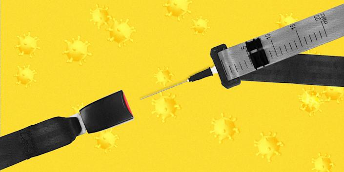 A seatbelt about to be buckled, where the end being inserted looks like a syringe, on top of a yellow background with coronaviruses