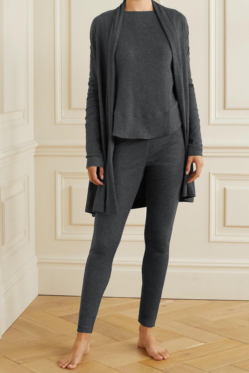 """Elevate her lounge look with this super soft set that's chic enough for an early morning walk. $370, Net-A-Porter. <a href=""""https://www.net-a-porter.com/en-us/shop/product/skin/ribbed-stretch-pima-cotton-and-modal-blend-travel-set/1288679"""" rel=""""nofollow noopener"""" target=""""_blank"""" data-ylk=""""slk:Get it now!"""" class=""""link rapid-noclick-resp"""">Get it now!</a>"""
