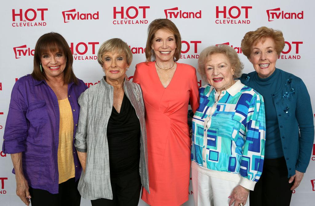 """Hot in Cleveland"" star Betty White reunites with former co-stars from ""The Mary Tyler Moore Show"" on April 4, 2013 for an upcoming episode of the TV Land sitcom. From Left to Right: Valerie Harper, Cloris Leachman, Mary Tyler Moore, Betty White and Georgia Engel."