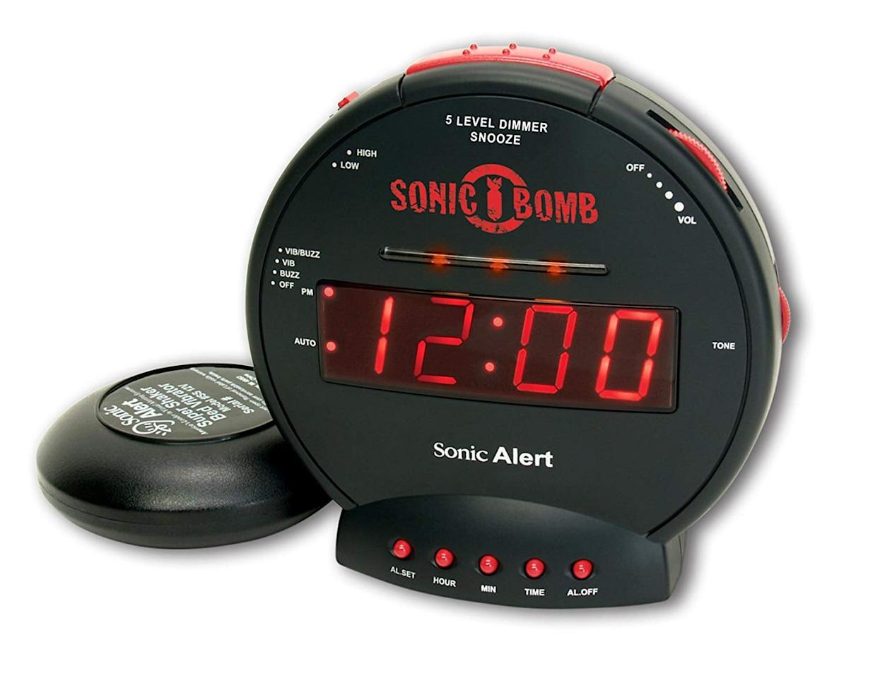 """<p>If you have trouble waking up, this <a href=""""https://www.popsugar.com/buy/Sonic-Bomb-Extra-Loud-Dual-Alarm-Clock-477579?p_name=Sonic%20Bomb%20Extra-Loud%20Dual%20Alarm%20Clock&retailer=amazon.com&pid=477579&price=33&evar1=savvy%3Aus&evar9=46477509&evar98=https%3A%2F%2Fwww.popsugar.com%2Fphoto-gallery%2F46477509%2Fimage%2F46477721%2FSonic-Bomb-Extra-Loud-Dual-Alarm-Clock&list1=shopping%2Camazon%2Cgadgets%2Ctech%20accessories&prop13=api&pdata=1"""" rel=""""nofollow"""" data-shoppable-link=""""1"""" target=""""_blank"""" class=""""ga-track"""" data-ga-category=""""Related"""" data-ga-label=""""https://www.amazon.com/Sonic-Alert-SBB500SS-Extra-Loud-Flashing/dp/B000OOWZUK/ref=zg_bs_electronics_59?_encoding=UTF8&amp;psc=1&amp;refRID=XSA8DGNHE433BYZGZJG0"""" data-ga-action=""""In-Line Links"""">Sonic Bomb Extra-Loud Dual Alarm Clock </a> ($33) is a game changer.</p>"""