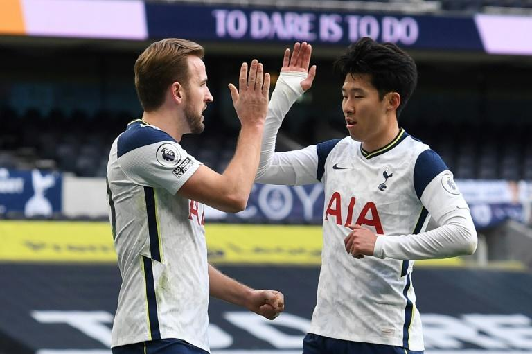 Deadly duo: Harry Kane (left)and Son Heung-min (right)have scored a combined 32 goals this season
