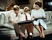Edward in the centre, in a 1971 Christmas message from the Queen, aged about seven. (Getty Images)