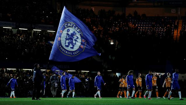 Soccer Football - FA Cup Fifth Round - Chelsea vs Hull City - Stamford Bridge, London, Britain - February 16, 2018 General view as the teams walk out before the start of the match Action Images via Reuters/Paul Childs