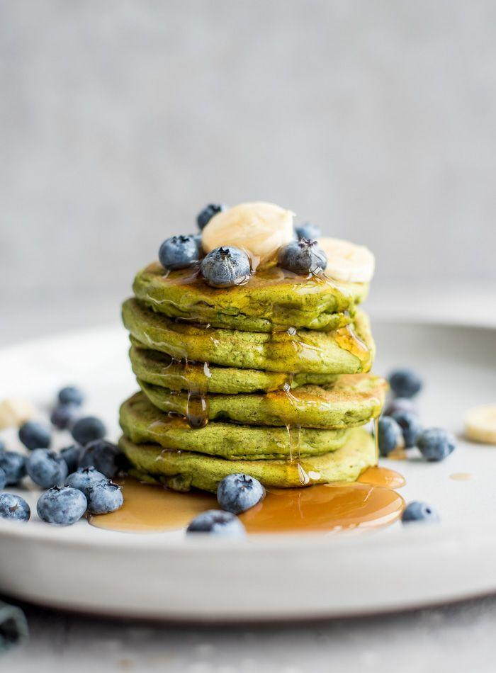 """<p>Shop six simple ingredients—chickpea flour, baking powder, spinach and protein powder—plus salt and water, and you'll have this Dr Seuss-inspired stack whipped up in no time. Top with maple syrup, blueberries and whatever else you fancy.</p><p><br></p><p>Try the recipe yourself: <a class=""""link rapid-noclick-resp"""" href=""""https://runningonrealfood.com/green-vegan-gluten-free-protein-pancakes/"""" rel=""""nofollow noopener"""" target=""""_blank"""" data-ylk=""""slk:runningonrealfood.com"""">runningonrealfood.com</a></p>"""
