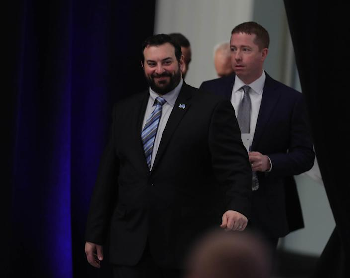 New Lions head coach Matt Patricia and GM Bob Quinn arrive for a news conference on Wednesday, Feb. 7, 2018, at the practice facility in Allen Park.