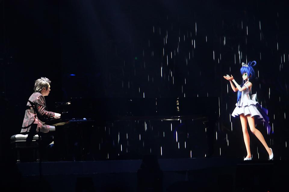SHANGHAI, CHINA - FEBRUARY 23: Pianist Lang Lang performs onstage during the Luo Tianyi & Lang Lang Concert 2019 at the Mercedes-Benz Arena on February 23, 2019 in Shanghai, China. (Photo by Visual China Group via Getty Images)
