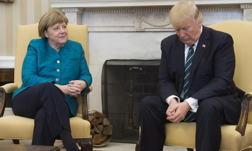 Angela Merkel in 2017 meeting then US president Donald Trump in the Oval Office of the White House.