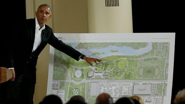 PHOTO: In this May 3, 2017, file photo, former President Barack Obama speaks near a rendering for the former president's lakefront presidential center at a community event on the Presidential Center at the South Shore Cultural Center in Chicago. (Nam Y. Huh/AP, FILE)