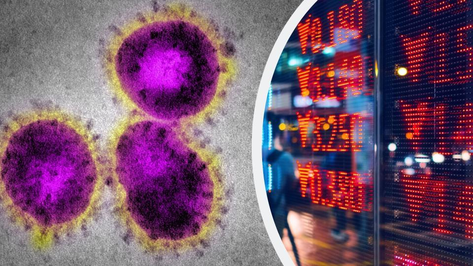 Pictured: Coronavirus cells, stock market. Images: Getty