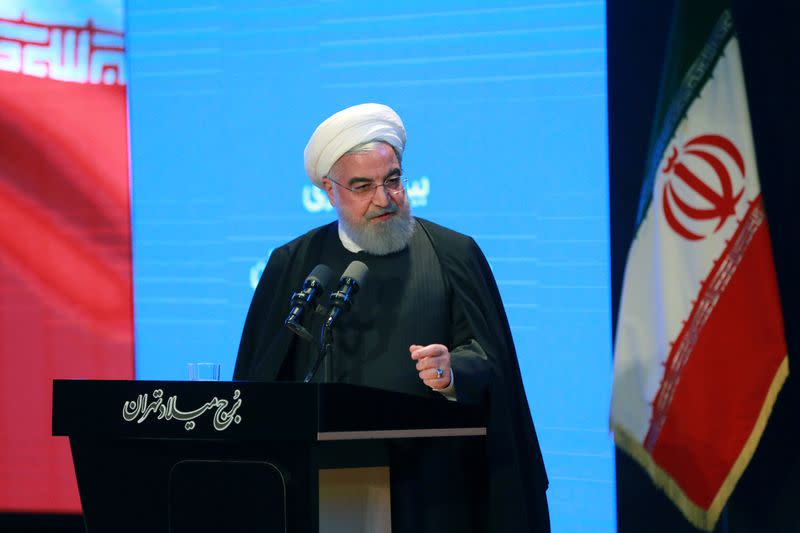 Iranian President Hassan Rouhani speaks during the National Insurance and Development Conference in Tehran