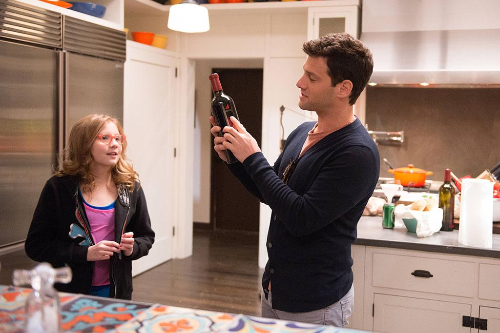 "Bebe Wood and Justin Bartha on the set of ""The New Normal."""