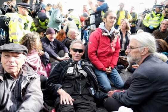 The Extinction Rebellion protest at London City Airport in October (Angela Christofilou/The Independent)