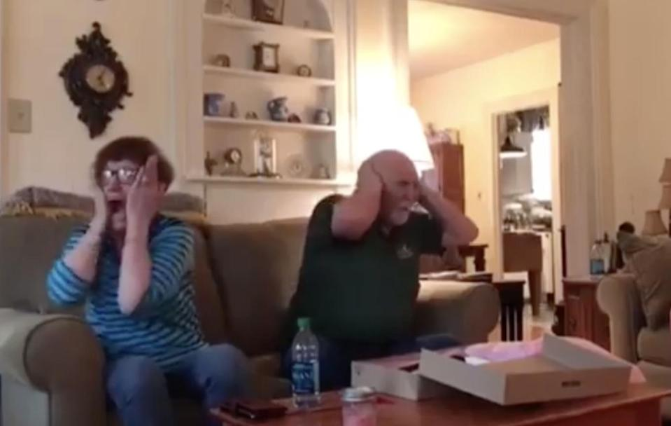 This grandma's reaction to her new grandkids is priceless. Photo: Facebook
