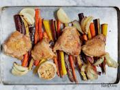 """<h2>14. One-Pan Roasted Chicken with Carrots</h2> <p>Go for bone-in, skin-on for the juiciest results.</p> <p><a class=""""link rapid-noclick-resp"""" href=""""https://www.purewow.com/recipes/one-pan-roasted-chicken-with-carrots"""" rel=""""nofollow noopener"""" target=""""_blank"""" data-ylk=""""slk:Get the recipe"""">Get the recipe</a></p>"""