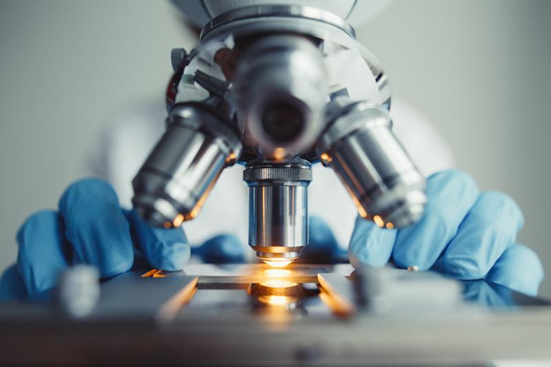 A microscope being operated by gloved hands.