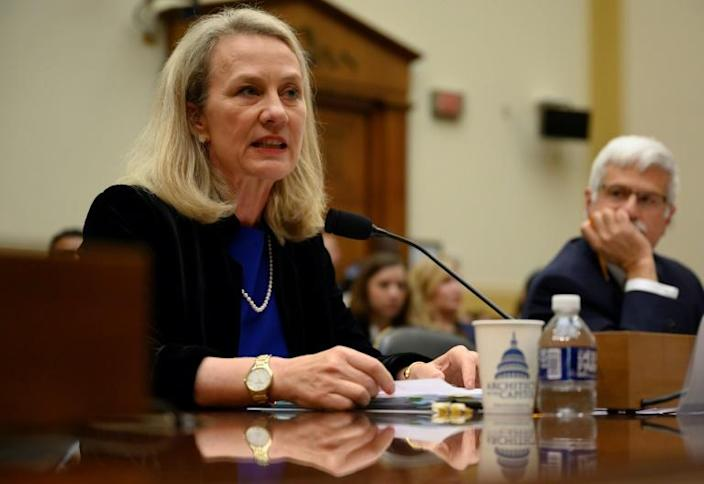 Alice Wells, the acting US assistant secretary of state for South Asia, speaks on human rights before the House Foreign Affairs subcommittee on Asia (AFP Photo/Andrew CABALLERO-REYNOLDS)