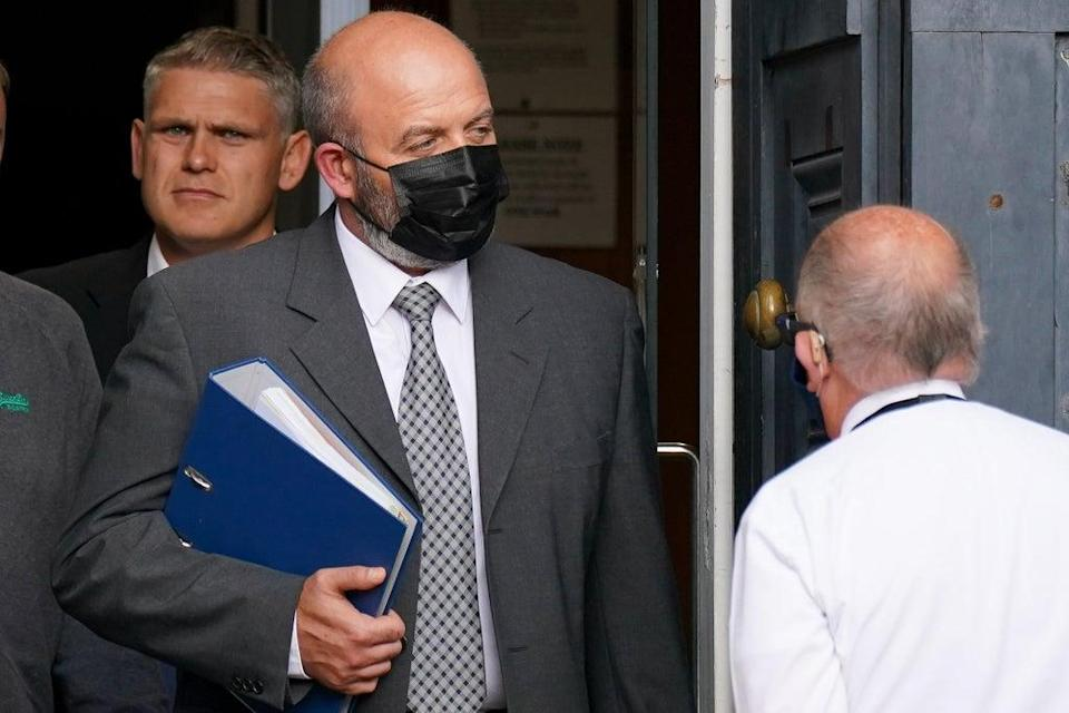 Jamie Holloway (centre) leaves Worcester Crown Court (Jacob King/PA) (PA Wire)