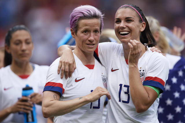 Megan Rapinoe and Alex Morgan could be called to testify as potential witnesses in the equal pay trial. (Photo by Quality Sport Images/Getty Images)