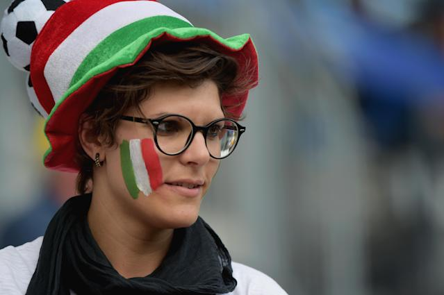 Italian fan attends the 2019 FIFA Women's World Cup France group C match between Jamaica and Italy at Stade Auguste Delaune on June 14, 2019 in Reims, France. (Photo by Pier Marco Tacca/Getty Images)