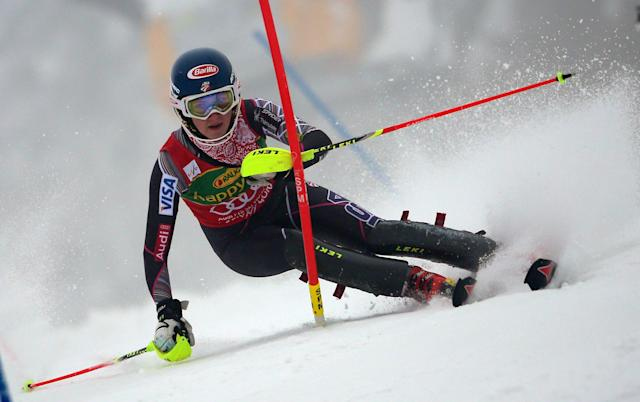 Mikaela Shiffrin of the Unites States competes during the first run of a alpine women's Worlsd Cup Slalom in Kranjska Gora, Slovenia, Sunday, Feb. 2, 2014. (AP Photo/Giovanni Auletta)