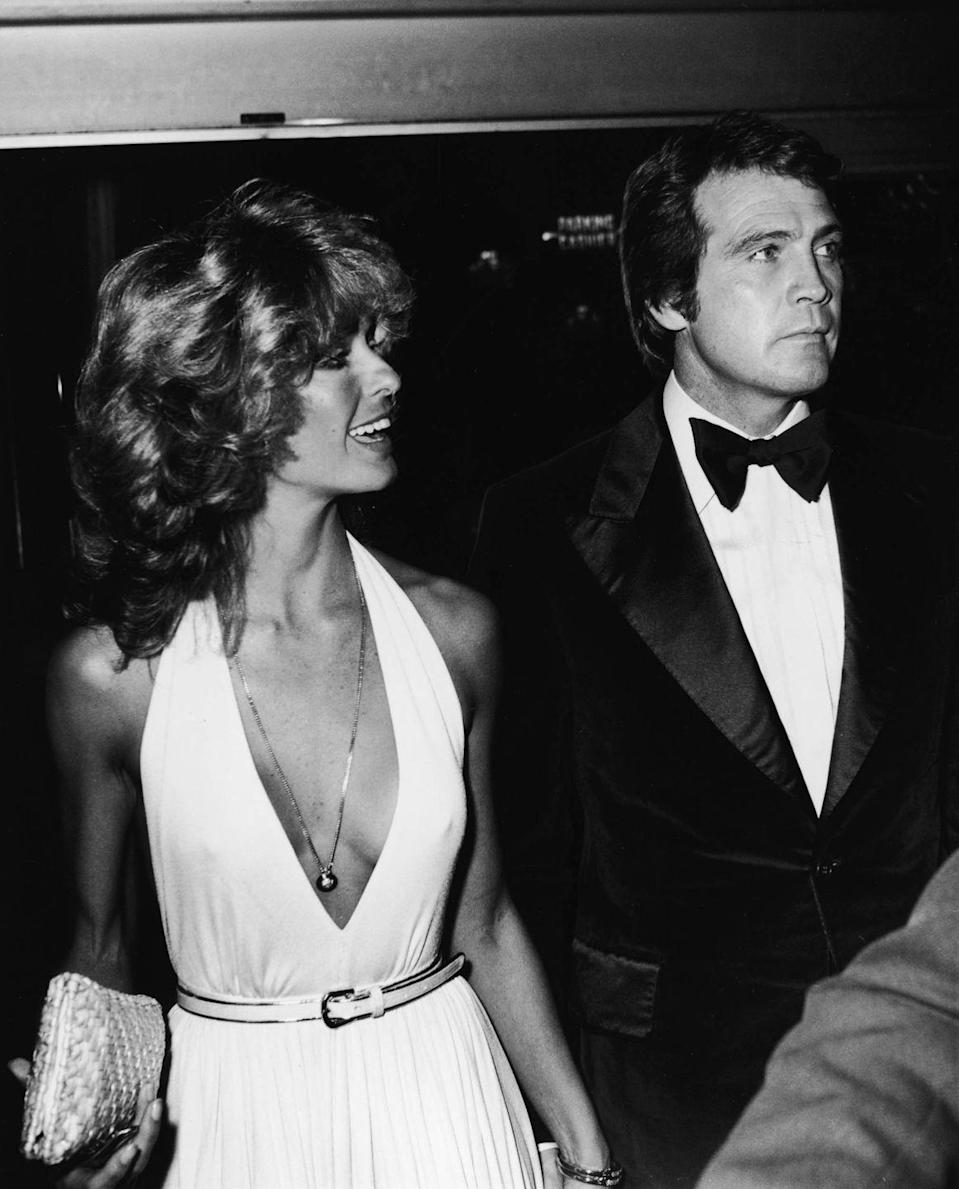 <p>Farrah Fawcett Majors and Lee Majors arrived at a gala event in honor of Prince Charles, the Prince of Wales, in Beverly Hills, California, October 27, 1977.</p>