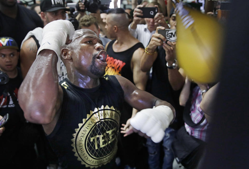 Floyd Mayweather works out in front of media at his gym in Las Vegas on Thursday, Aug. 10. (AP)