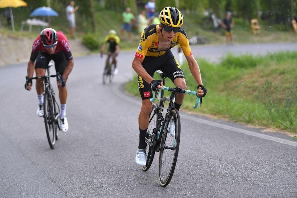 BAROLO ITALY  AUGUST 12 George Bennett of New Zealand and Team JumboVisma  Gianni Moscon of Italy and Team INEOS  during the 104th Giro del Piemonte 2020 a 187km race from Santo Stefano Belbo to Barolo 294m  GranPiemonte  GranPiemonte  on August 12 2020 Barolo Italy Photo by Tim de WaeleGetty Images
