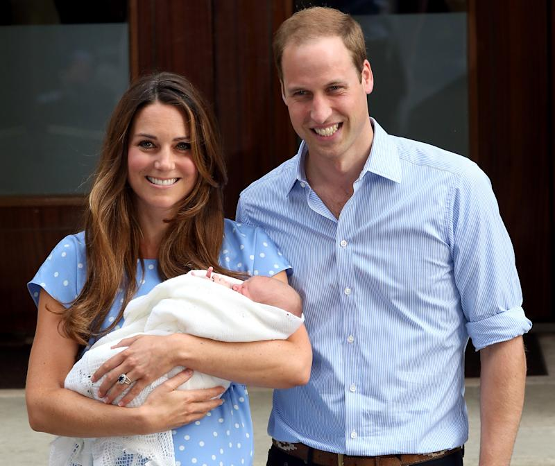 Kate Middleton and Prince William posed for photos on the steps of The Lindo Wing at St. Mary's Hospital in 2013 after welcoming son Prince George. (Photo: Chris Jackson/Getty Images)