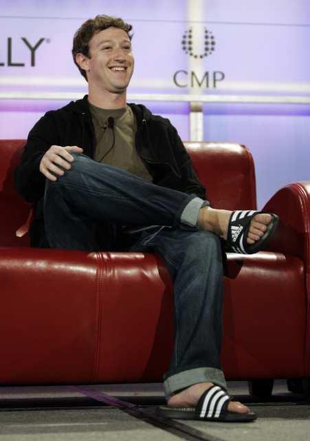 Facebook founder Mark Zuckerberg smiles during a talk at Web 2.0 conference in San Francisco, Wednesday, Oct. 17, 2007. (AP Photo/Paul Sakuma)