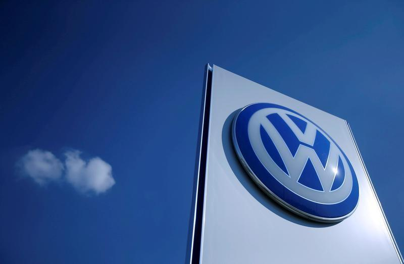 Volkswagen logo is pictured at the newly opened Volkswagen factory in Wrzesnia